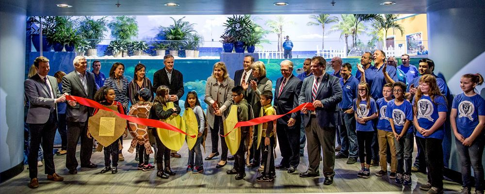 Ribbon cutting ceremony for Sea Turtle Island